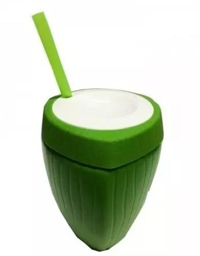 30 Copos Coco Verde  Com Canudo