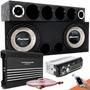Caixa Trio Som Carro Pioneer Completa Taramps Mp3 Bluetooth