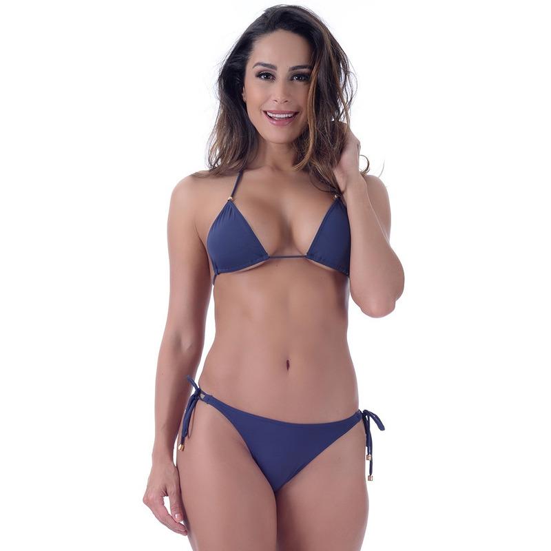 Calcinha Summer Soul Ripple Com Amarração Azul Marinho