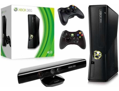 Xbox 360 Super Slim Ou Slim 4gb 2 Controles + Kinect 2 Jogos Original