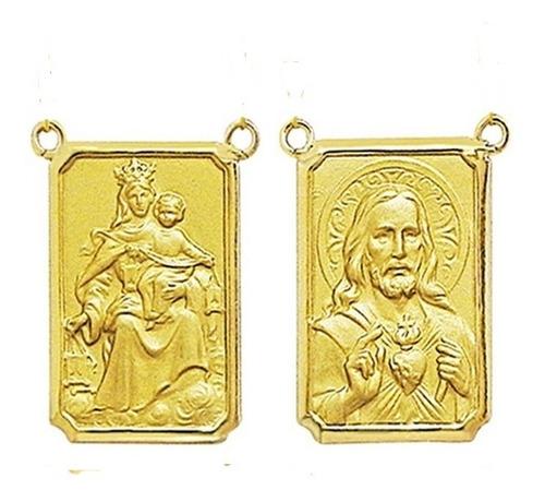 Medalha P/ Escapulario 27 Imagens De Santos Ouro 18 Dupla T2 Original