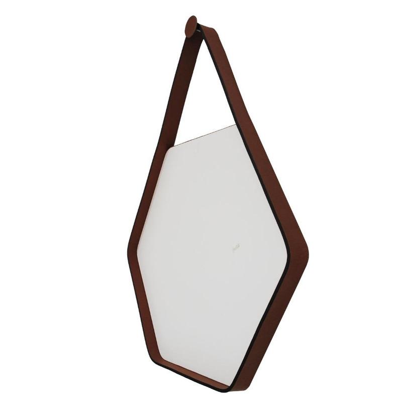 Espelho Adnet Brio Oruy em Couro Legítimo 70cm