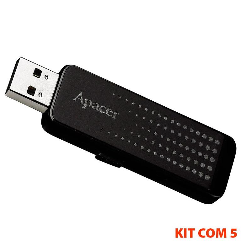 PEN DRIVE 16GB AH323 PRETO APACER(KIT COM 5 PÇS)