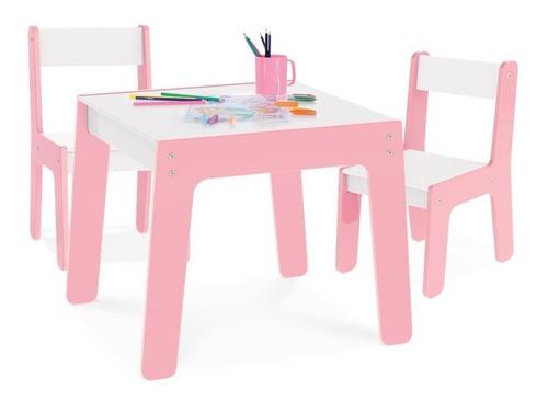 Conj Mesa Mesinha + 2 Cadeira Cadeirinha Infantil Mdf Junges Original