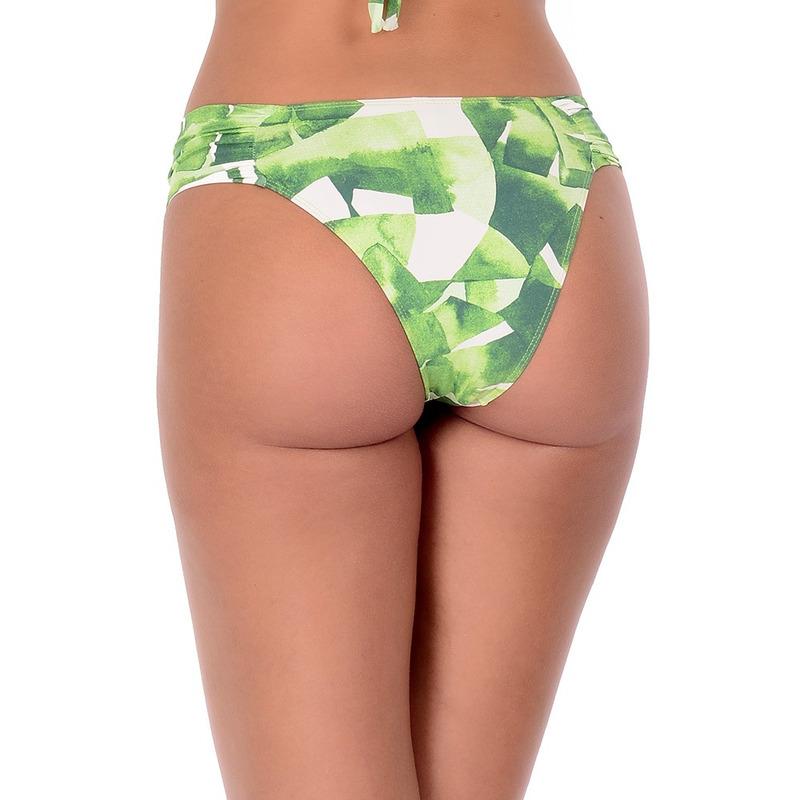 Calcinha Summer Soul Cós Médio Com Lateral Franzida Folhas Verde