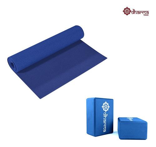 Tapete Pilates Azul Céu Com 2 Blocos De Yoga Para Apoio Azul