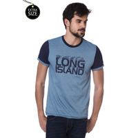 Camiseta Long Island Plus Size Azul