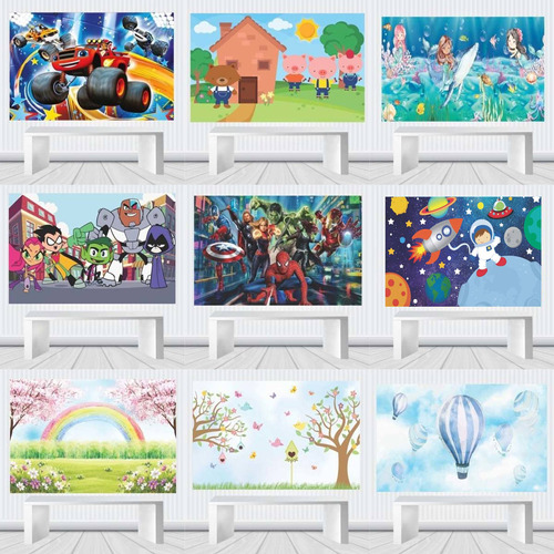 Painel Decorativo Festa Infantil 1,00 M X 0,65 Temas M.20b Original