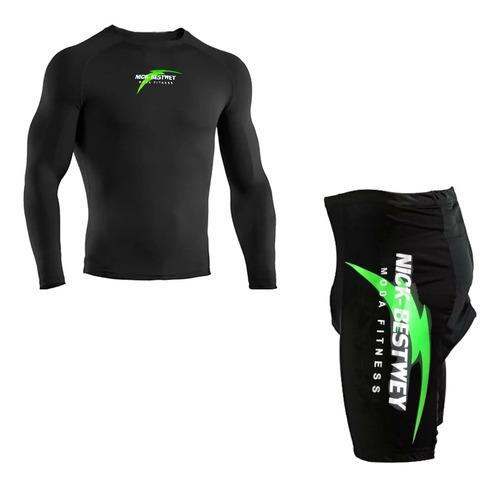 Conjunto Bermuda Acolchoada Bike E Camisa Proteção Solar Uv Original