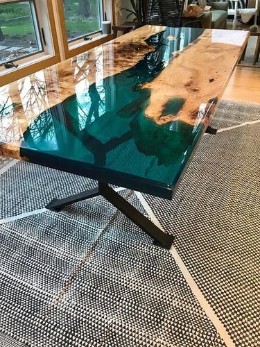 Resina Epoxi Cristal Média: Mesa Madeira River Table 4,35 Kg Original
