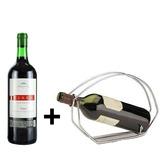 Kit Vinho Tinto Tradicional 750ml + Porta Vinho Metal - Real D'Ouro