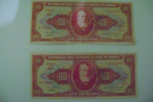 Raridade 2 Nota De 100 Cruzeiros D.pedroii Serie 511 Vermelh