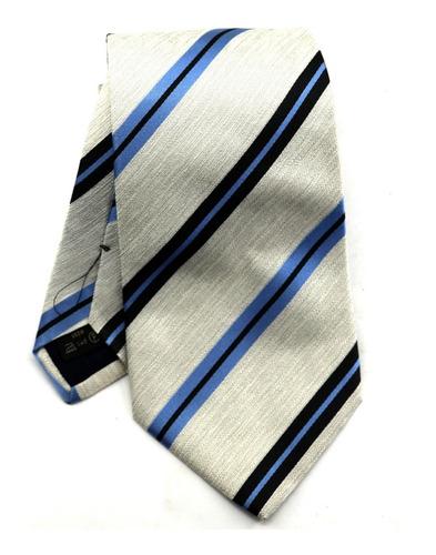 Gravata Italiana Seda Pura Prata Listrada Azul Social B0337 Original