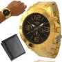Relógio Masculino Dourado Condor Ouro 18k Brinde Carteira