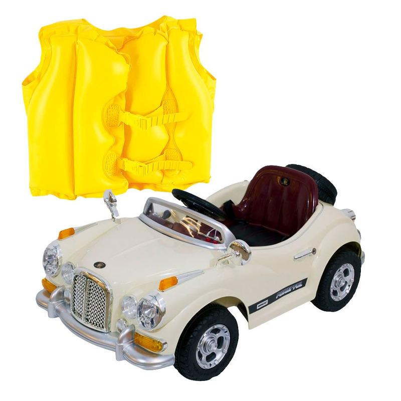 Kit Carro Retrô c Controle Remoto Bege-915000-Bel Brink+Colete Boia Inflável Infantil Amarelo-1822- Mor<BR><BR>