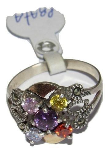 Anel Em Prata 950 Com Dourado E Pedras Coloridas Original