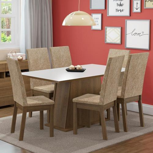 Sala De Jantar Madesa Thaís Mesa Tampo De Madeira 6 Cadeiras Original