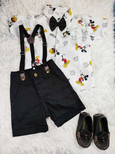 Roupa De Menino Mickey Mouse Com Sapato Mocassim Festa Original