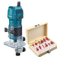 "Kit Tupia 6mm 1/4"" 530 Watts 3709 220V Makita + Kit de 12 Fresas para Madeira Haste de 1/4"" CQT012"