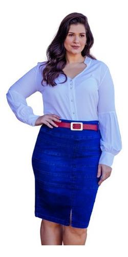 Saia Jeans Recortes E Fenda Frontal Via Tolentino Original