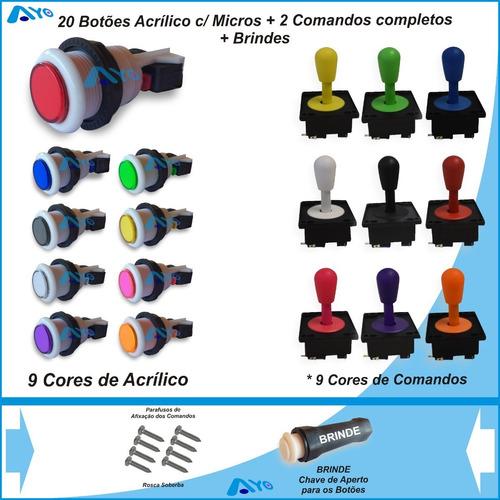 Kit 20 Botões Arcade C/ Micros + 2 Comandos Completos Original