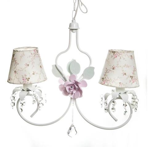 Lustre Branco C/ Cristais E Flores Rosa Quarto Bebê Iantil Original