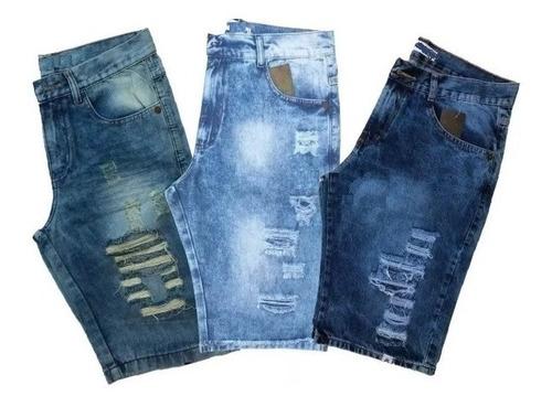 Kit 3 Bermudas Jeans Masculina Preço Fábrica Atacado Original