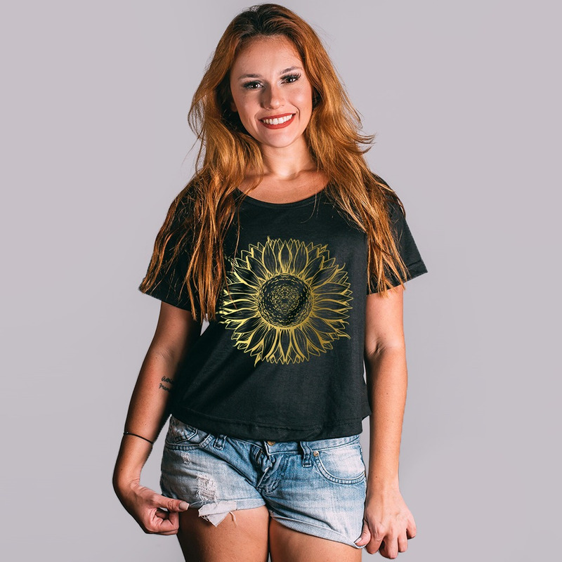 CROPPED PRETO - SUNFLOWER