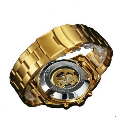 Relogio Skeleton Mecanico Automatico,,dourado Prata Original