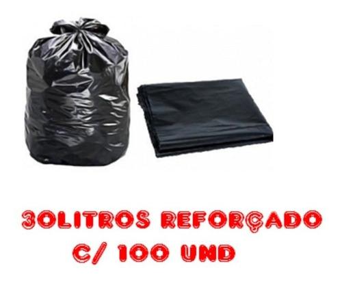 Saco De Lixo 30l Preto Reforçado 100 Unidades Fabricante Original