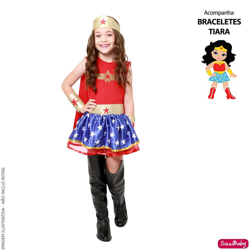df6c6e6d7b Fantasia Vestido Mulher Maravilha Infantil Tiara Braceletes - SissiBaby
