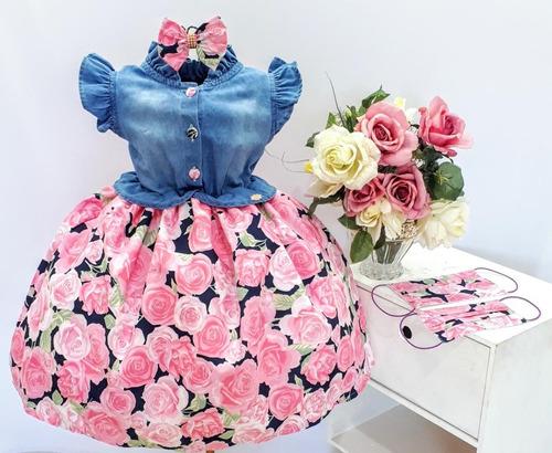 Vestido Floral Juvenil Festa Infantil Super Promoção E Tiara Original
