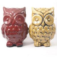 Corujas em cerâmica para decoração - Vermelho e Amarelo
