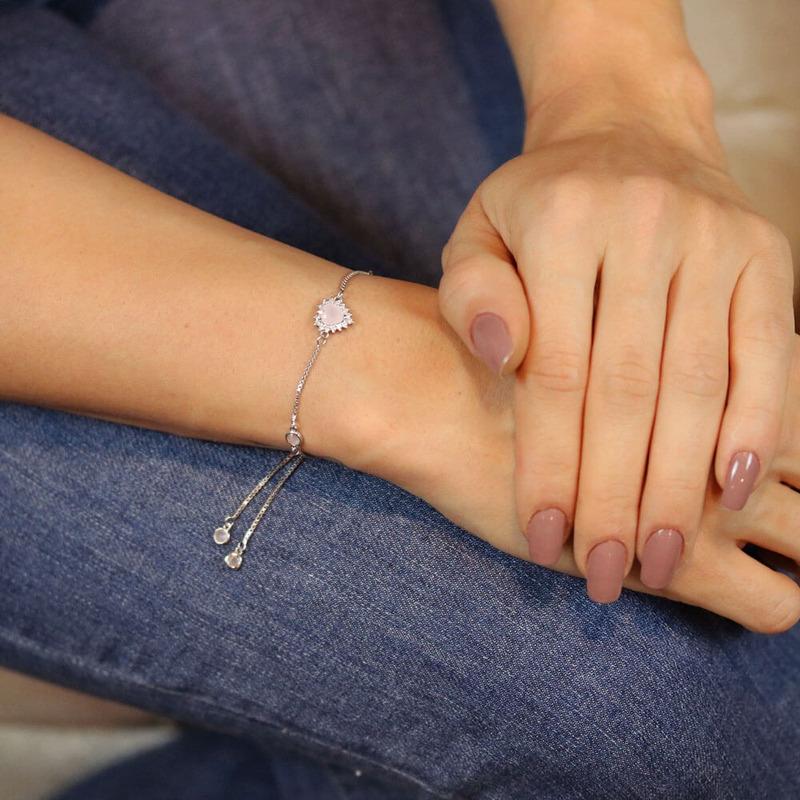 Pulseira prata 925 coração rosa leitoso regulável  - PL040044