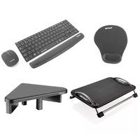 Kit Teclado e Mouse + Apoio de Pulso para Teclado + Mousepad + Descanso para os Pés + Suporte Para M
