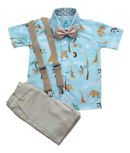 Roupas Infantil Aniversário Safari Azul