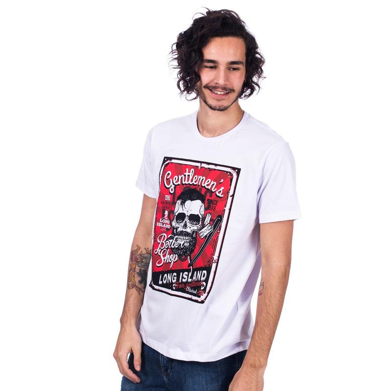 Camiseta Long Island Barber Shop Branca