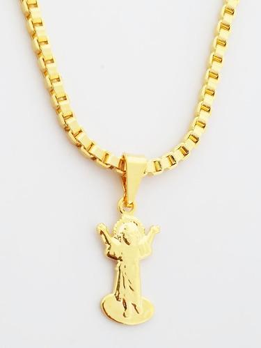 Pingente Cristo + Gargantilha Folheado Ouro 18k. C3p49 Original