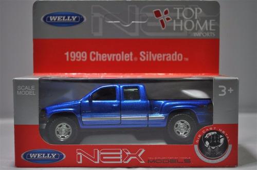 Chevrolet Pick-up Silverado 1999 1:34-1:39 Welly - Azul