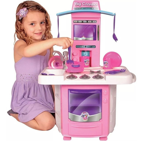 Cozinha Infantil Menina Completa Pia Fogão Forno Sai Água Original
