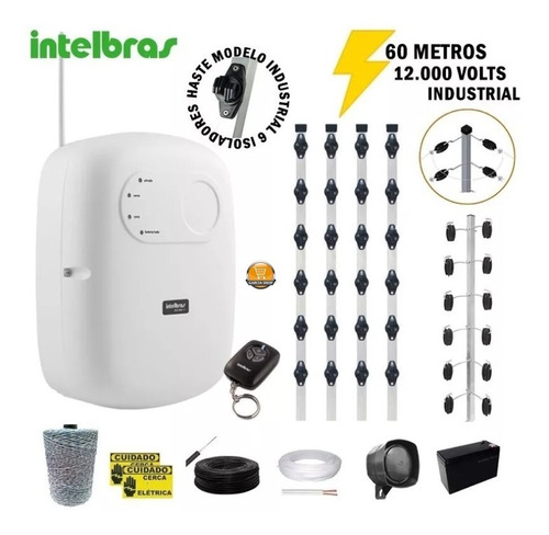 Kit Cerca Elétrica Industrial Residencia Intelbras 100 Metro Original