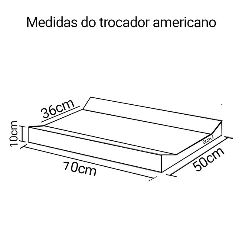 Trocador Americano 50 x 70 x 10
