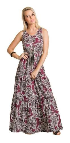 Vestido Longo Estampado Com Fenda Recorte Na Saia Feminino Original