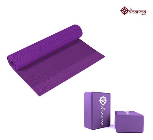 Tapete Pilates Premium Roxo Com 2 Blocos De Yoga Para Apoio