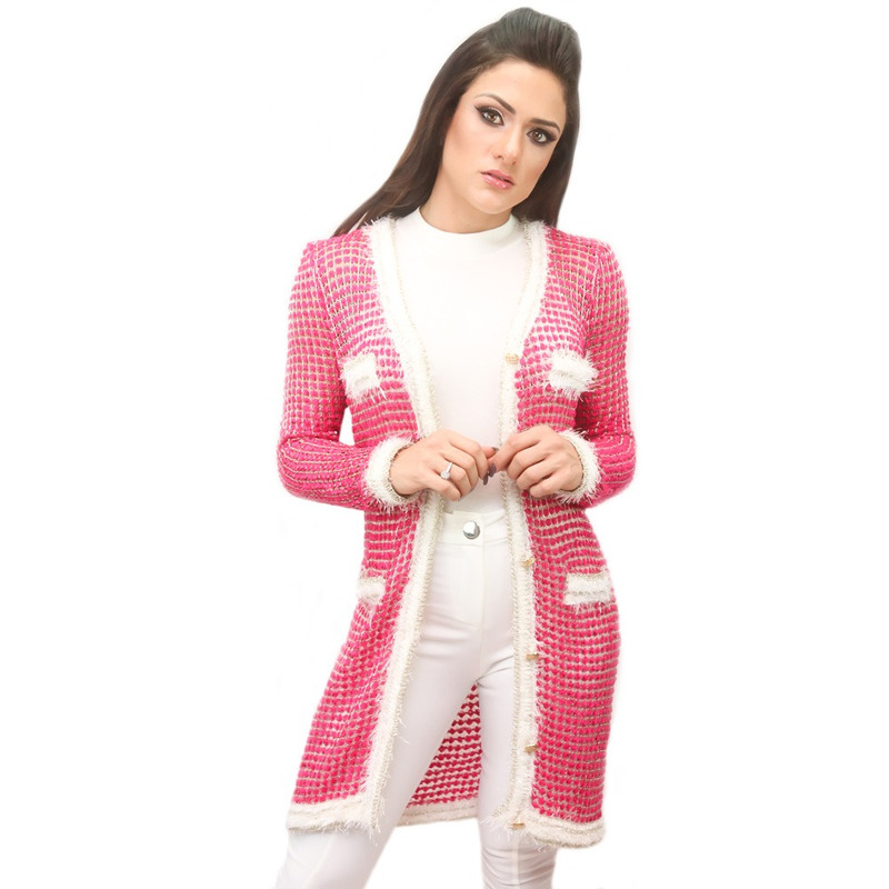 SOBRETUDO ROSA PINK TRICOT LUREX PELINHOS - RJA00023