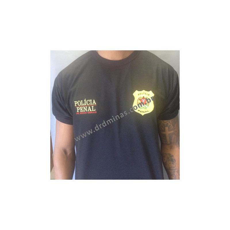 Camisa Polícia Penal - DEPEN - Modelo 2 - Preta  Bordada