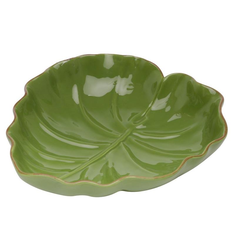 Saladeira de Ceramica Folha Verde 28,7X26,9X7Cm 4103873