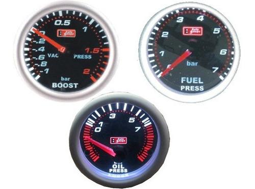 Kit 3 Relogi Auto Gauge P Combustivel, P Turbo, P Oleo Smoke Original