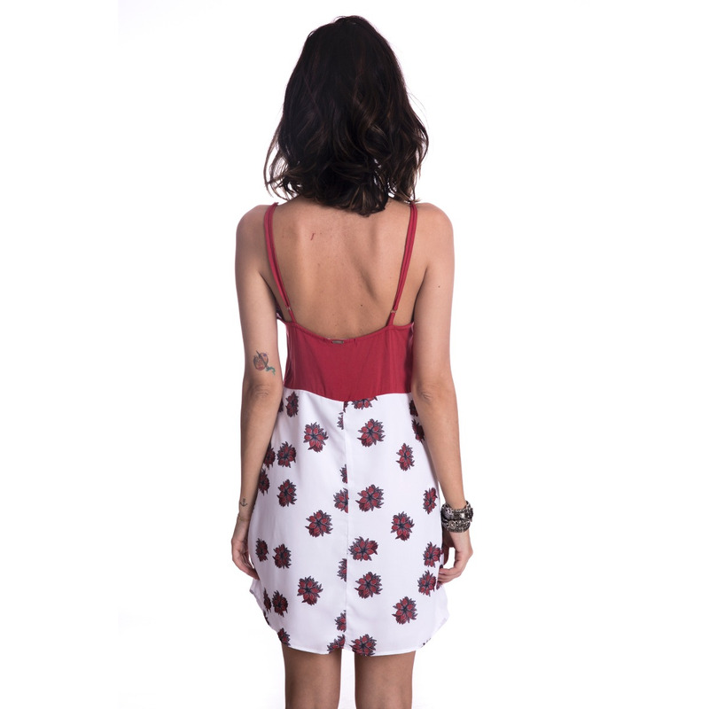 Vestido Long Island Flowers Vermelho