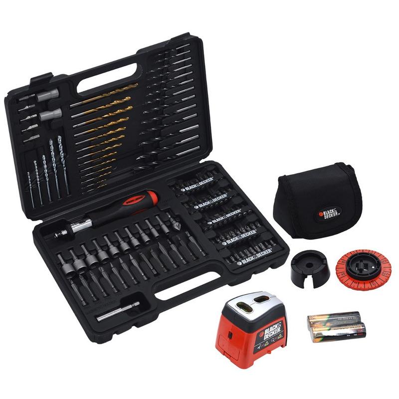 Conjunto Laser de Perfuração e Parafusamento Black & Decker 115 pçs
